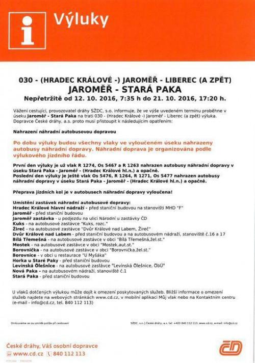 Vluka na eleznici na trase Jarom - Star Paka (7.-11