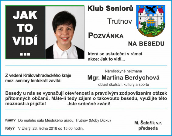 bfe00875ad Beseda s Mgr. Martinou Berdychovou - 23. ledna 2018